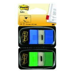 POST-IT Lot 2 distributeurs d'INDEX STANDARDS bleu/vert