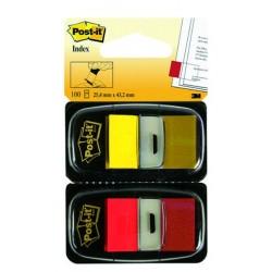 POST-IT Lot 2 distributeurs d'INDEX STANDARDS rouge/jaune